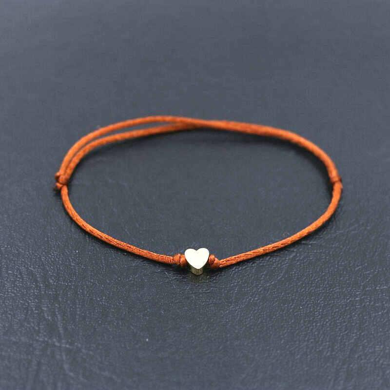BPPCCR fait à la main en acier inoxydable amour coeur forme bracelet à breloques mince rouge corde fil chaîne Bracelets pour hommes femmes Couples