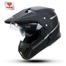 2017 мода yohe беговых мотоциклетный шлем yh-628a двигателя мотокросс крышки abs двойные линзы бездорожью шлемы мотоцикла
