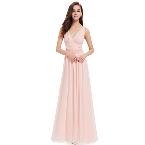 Burgundy Bridesmaid Dresses For Wedding Party Elegant A Line V Neck Chiffon Long Formal Guest Gowns Vestido De Festa Longo 2019 Lahore
