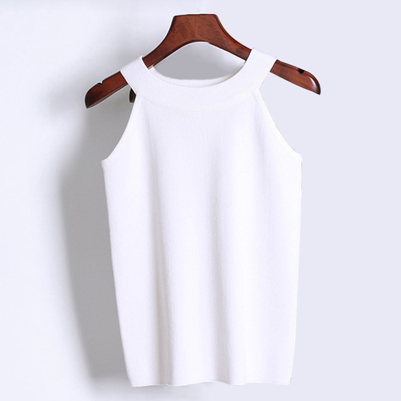 2018 sexy knitted halter camis top bustier cropped Women Female summer beach white black beige camisoles Off shoulder tops