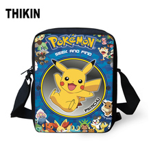 THIKIN Anime Pokemon Messenger Bag for Kid Boys Girls Small Cross Body Bag Pikachu/Eevee/Squirtle 3D Print Travel Shoulder Bags майка print bar super squirtle