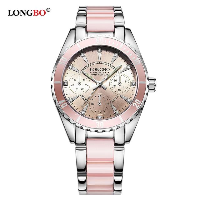 LONGBO Brand Fashion Watch Women Luxury Imitation Ceramic and Alloy  Bracelet Waterproof Quartz Watch Ladies Elegant Watch 80303 c77b08449b