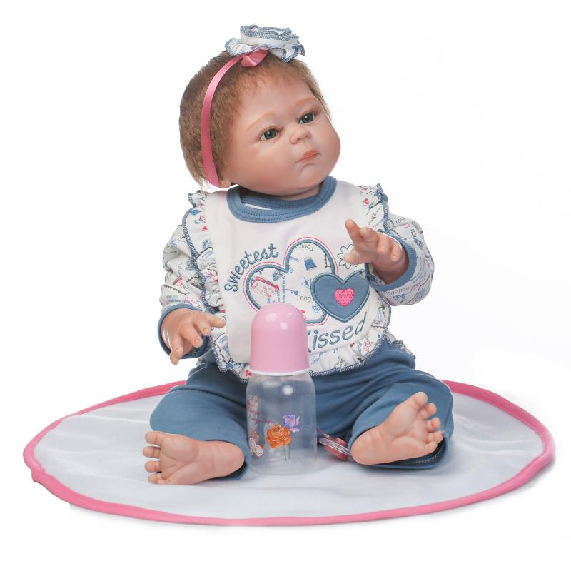цены New 50cm Doll Reborn Babies Silicone Lifelike Realistic Baby Dolls Kids Growth Partners birth reborn can enter water playmates