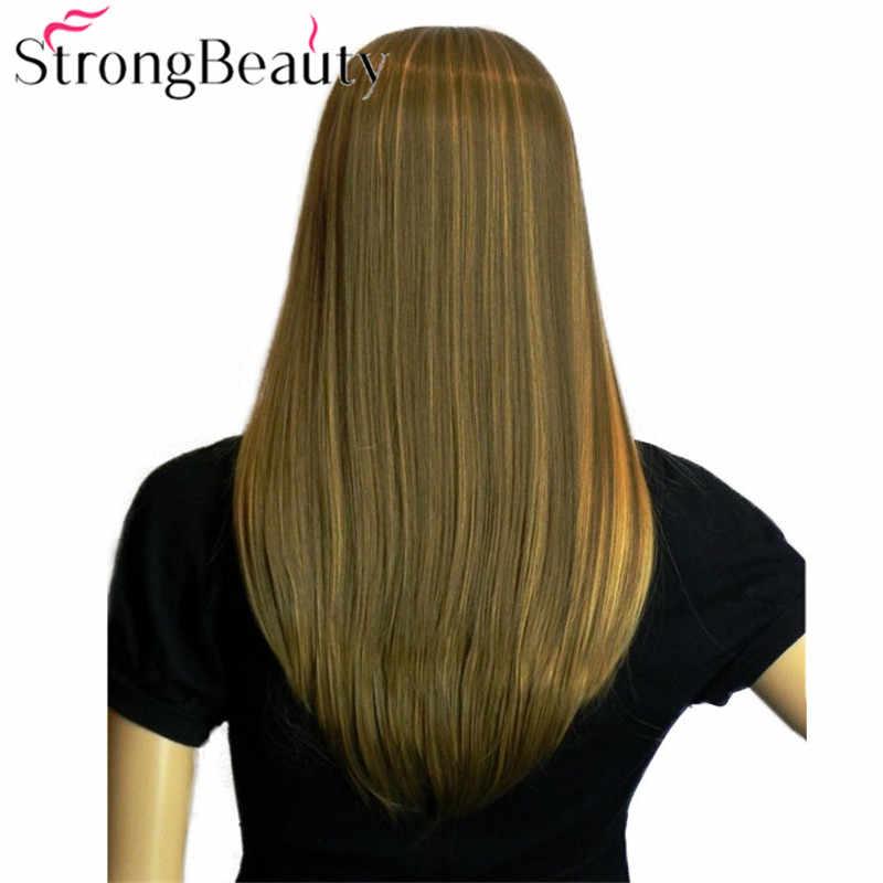 Очень красивые, Длинные прямые светлые коричневые парики девушки косплей волос косой челкой Полный волос парики