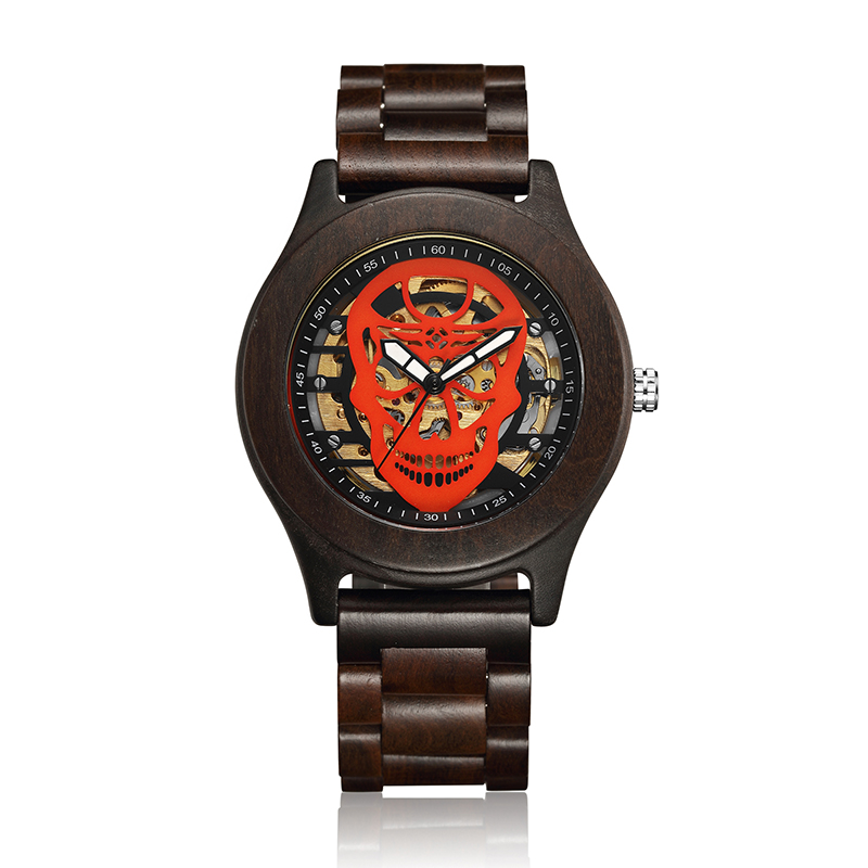Men Wooden Watch Creative Skull Dial Mechanical Watch Fashion Casual Quartz Movement Skeleton Wrist Watches relogio masculino men watch arabic dial face skeleton quartz movement dubai design urdu numbers watch