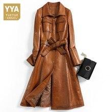 Marca superior feminina itália designer de couro genuíno pele carneiro casacos longos moda faixas cinto qualidade real couro trincheira blusão