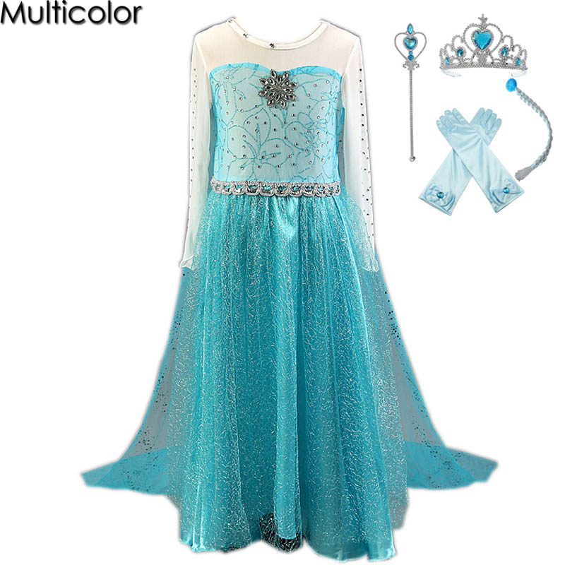 2018 HOT High Quality Elsa Girls Princess Children Dress Party Fantasia Vestidos Infants Dress Summer Anna Kids Custom Dresses auro mesa blue baby knitting romper 100