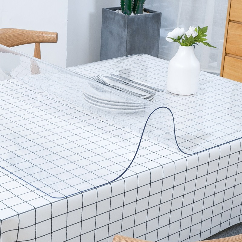Soft Glass Tablecloth transparent PVC Tablemat Waterproof Oilproof Kitchen Dining Place Mat Pad Wedding Home Party 1.0mm thick