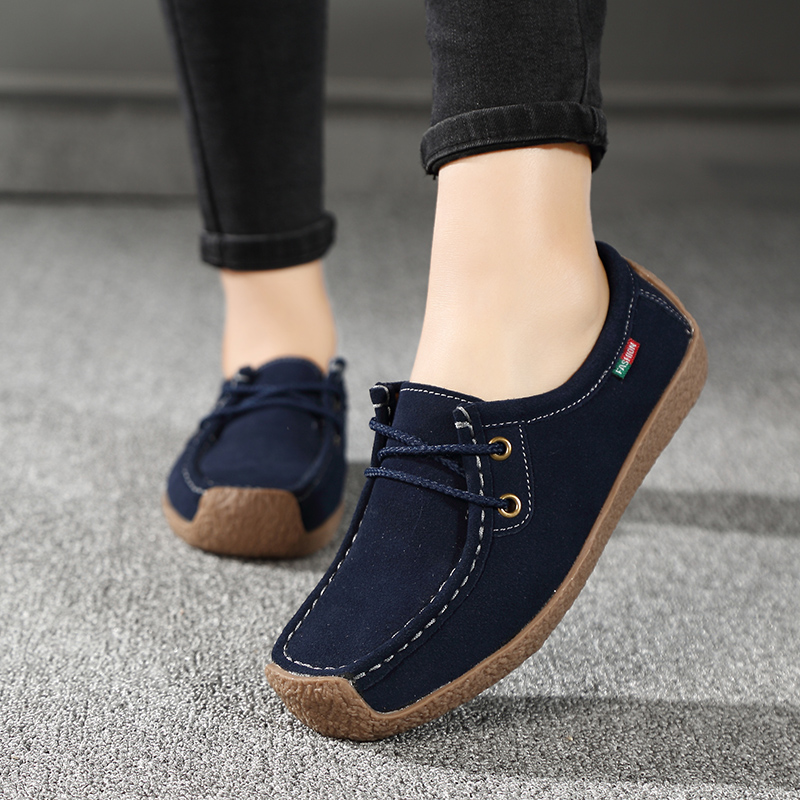 2018 Spring Autumn Women's Shoes Genuine   Leather   Boat Shoes Flats Woman Hand-sewing   Suede     Leather   Shoes Fashion Casual Shoes