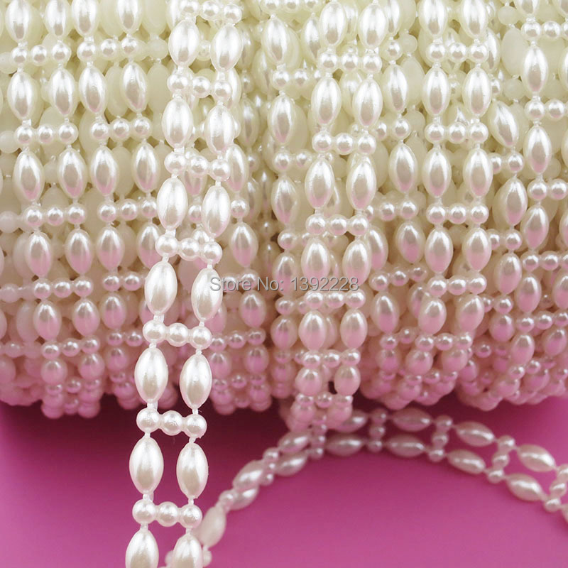 25m/roll Rhinestone Sewing Trim Flat Back Plastic ABS Pearl Beads ...