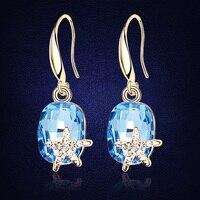 Cristal grande de Swarovski Pendientes oro color austríaco cristal pendiente colgante moda elegante Starfish joyería para señora regalo