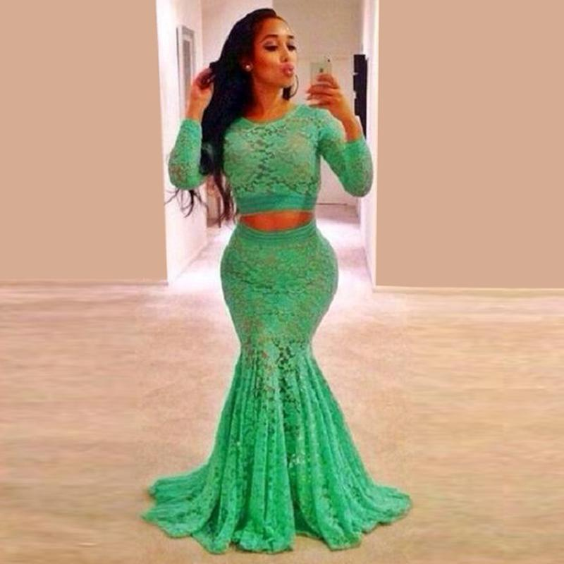 Hot Sale Mint Green Lace Long Sleeve Prom Dresses Mermaid Plus Size