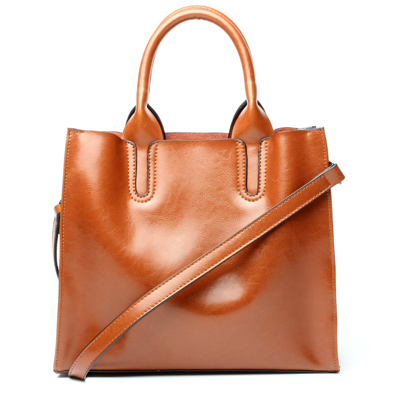 Ladies' genuine leather handbag 2018 women's handbags new leather handbags fashion large-capacity cowhide tote bag shoulder bag ladies bag 2017 new trend fashion handbags large capacity shopping bag genuine leather bag simple shoulder ladies bag bbh1387