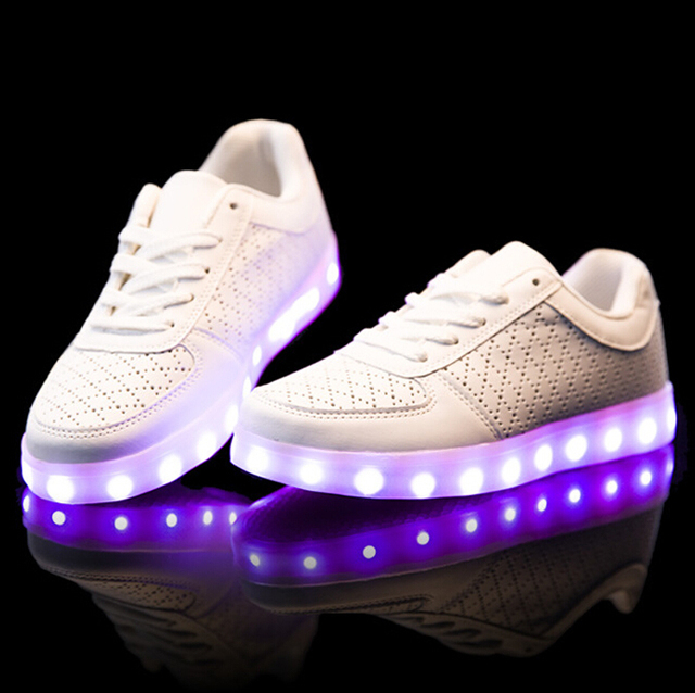 d68ae59f671ac New 7colors yeezy mesh LED light Shoes Fashion Leather Led white light up  luminous casual shoes for women or Lovers