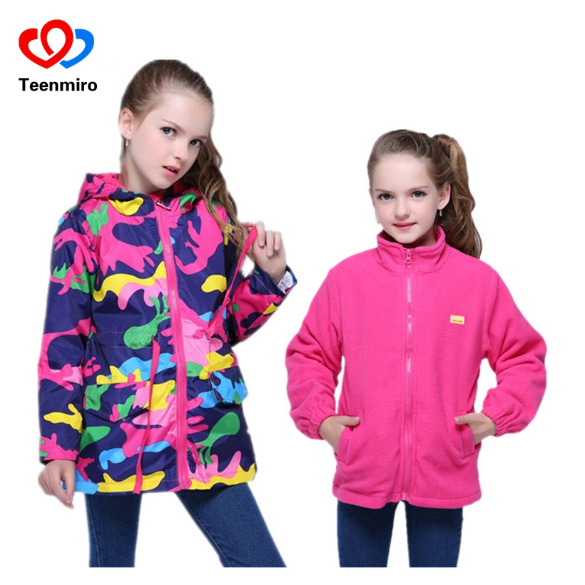 2pcs Girls Jacket Autumn Children's Windbreakers Zipper Camo Long Hooded Camo Coat Kids Rain Jacket Waterproof Windproof Fleece zipper up hooded camo lightweight jacket