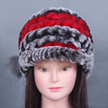 Winter Hat For Women Genuine Rex Rabbit Fur Hat With Fox Fur Flower Female Fur Cap Good Quality Fur Casquette