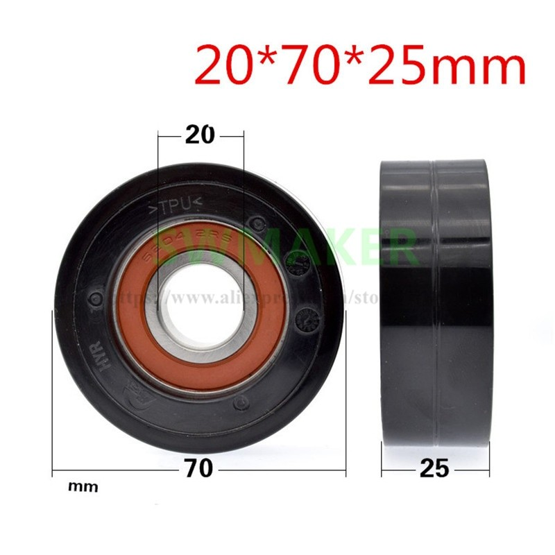 1pcs 20*70*25mm TPU Hard Rubber HYR Polyurethane Coated 6204 Bearing 7cm Roller Automobile Line Pulley