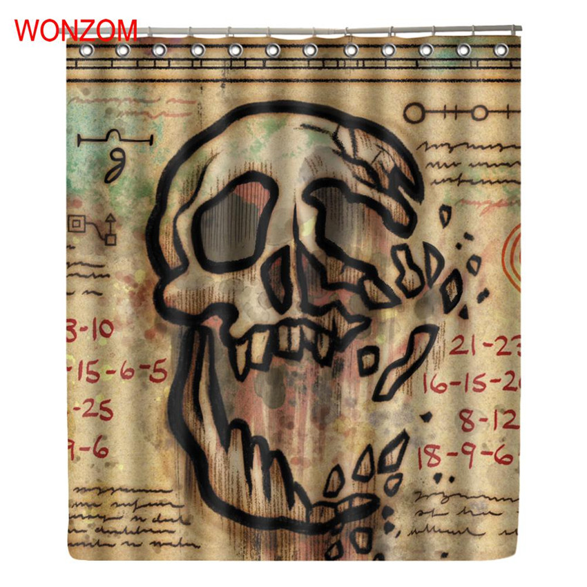 Wonzom Polyester Fabric Skull Curtains