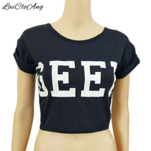 GEEK Letter Print Short T-shirt Women Fashion O-Neck Short Sleeve Cotton Crop Tops Women 2017 Casual Summer T Shirts for Women