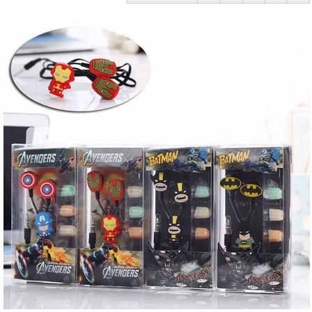 Мультяшные наушники-вкладыши с Бэтменом, гарнитура, милые наушники с Бэтменом, наушники для iPhone, мобильного телефона, Mp3 для Android и iOS 3,5 мм, бесплатная доставка