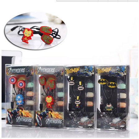 Cartoon Batman in-ear Earphone Headset Cute Batman Earphones Earbuds for iPhone Cellphone Mp3 for Android &iOS 3.5mm free ship cute cartoon cat claw style in ear earphones for mp3 mp4 more blue white 3 5mm plug