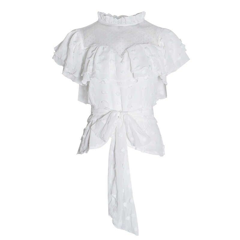 TWOTWINSTYLE Casual Chiffon Shirt Para As Mulheres Estande de Manga Curta Ruffles Irregular Hem Polka Dot Blusa Moda Feminina 2019 Verão