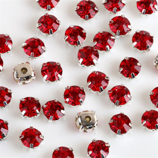 Pick Size 3 4 5 6 7 8 mm Crystal red Rhinestones with Sewing gold Silver  Cup Claw Sewing claw rhinestones crystal B05 dd3a7f7280d8
