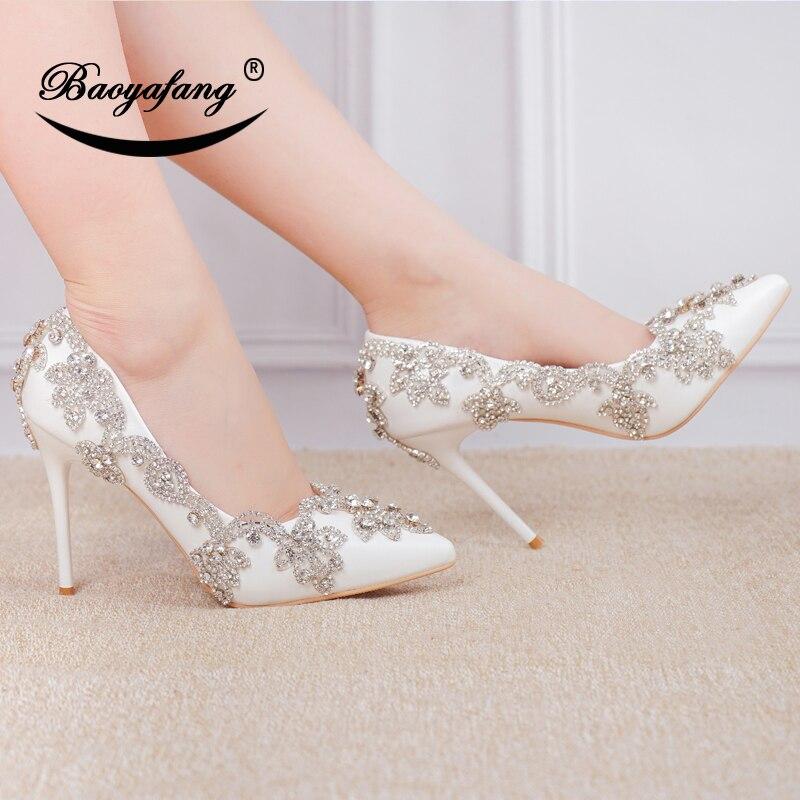 BaoYaFang ポインテッドトゥ女性の結婚式の靴クリスタルパンプスファッション花嫁の靴はパーティーのための女性  グループ上の 靴 からの レディースパンプス の中 2