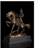Медь латунь китайский ремесла Decor Ation Азиатский 14 Книги по искусству Скульптура Западная Бронзовый Мрамор общие воин боевой конь СТАТУЯ
