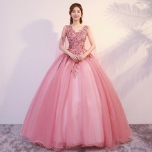 Vestidos De 15 Anos Quinceanera 2019 Pink Dresses V-neck Girl Sweet 16 Ball Gown Luxury Applique Flower Open Back Pageant Gown