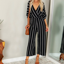 2019 New ZANZEA Summer Fashion Deep V Neck Striped Party Bodysuit Women Casual 3/4 Sleeve Loose Jumpsuits Wide Leg Long Playsuit