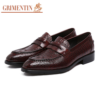 GRIMENTIN Italian men formal shoes brand genuine leather slip on mens wedding shoes crocodile style black brown office shoes