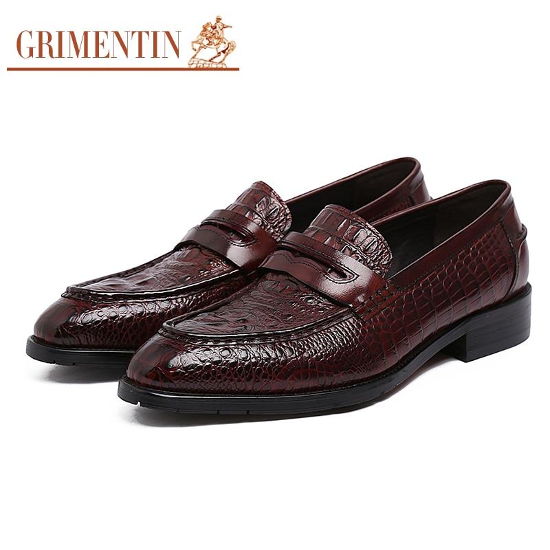 65f36779a4 Casamento Deslizamento Grimentin Marrom Couro Mens De Do Black Italiano  Preto Escritório Crocodilo Genuína Estilo Formal Homens Marca brown Sapatos  Em YvqfY
