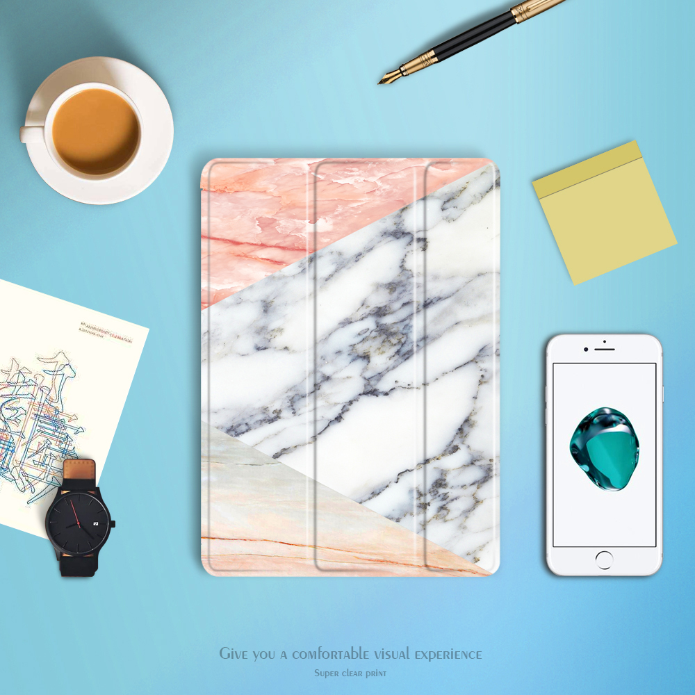 Marble pattern New Case for Apple New iPad 9.7 to 2017/2018 . YCJOYZW - PU leather cover+TPU soft Case-Smart sleep wake up case