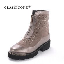 CLASSIOCNE 2018 shoes woman winter genuine leather flats ankle boots wool warm snow boots brand fashion style crystal decoration цены