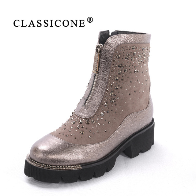 CLASSIOCNE 2018 shoes woman winter genuine leather flats ankle boots wool warm snow boots brand fashion style crystal decoration