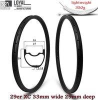 Супер легкий Вес 350 г/шт. 33 мм Ширина 29er MTB оправа углерода бескамерные готов для XC Cross Country Mountain колеса асимметричная диски