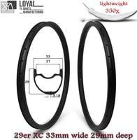 Super Light Weight 350g/piece 33mm Width 29er MTB Carbon Rim Tubeless Ready For XC Cross Country Mountain Wheels Asymmetric Rims