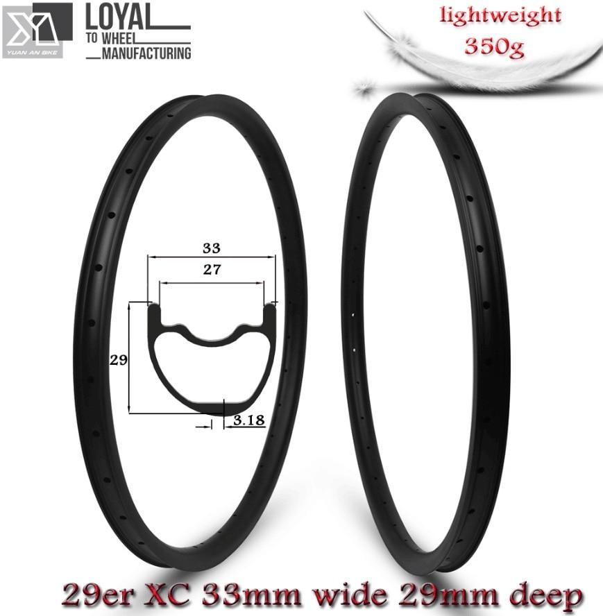 Super peso leve 350 g/peça 33mm largura 29er mtb aro de carbono sem câmara de ar pronto para xc cross country mountain wheels jantes assimétricas
