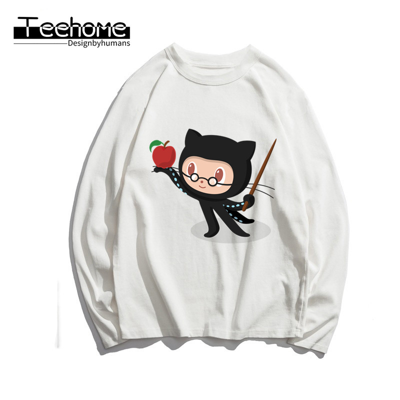 Men's Github Social Coding Print Long Sleeve Autumn Men and Women Full Sleeve Harajuku T Shirt Winter Streetwear