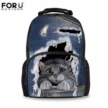 FORUDESIGNS Jeans Style Childrens Backpack Canvas School Backpacks for Teenage Girls Denim Cat Pattern Women Laptop Rucksack