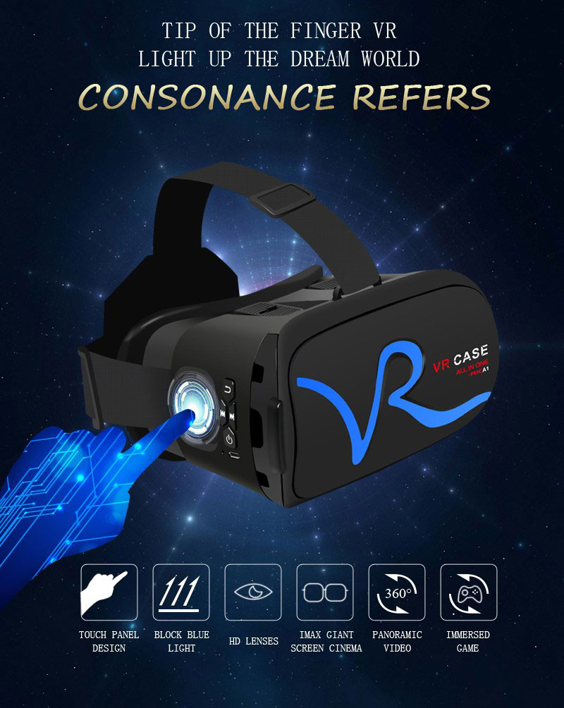 All IN ONE VR Glasses VR CASE RKA1 VR Headset Virtual Reality Glasses for 4-5.8 inches iPhone Mobile 3D IMAX Touch Control Blue 7