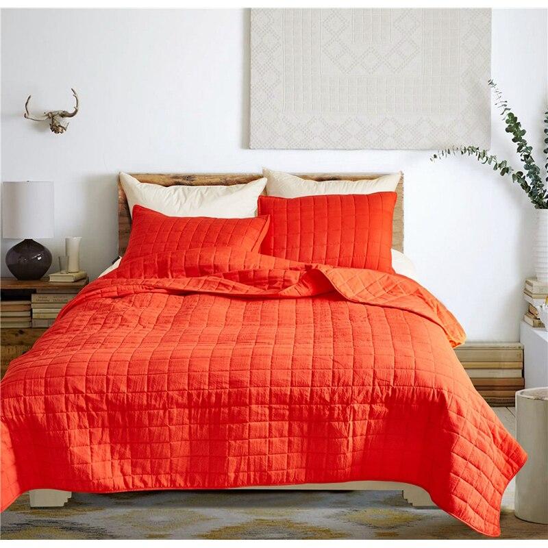 3 sztuk/partia pomarańczowy kolor kołdra poliestrowa zestawy pościeli królowej King Size podwójne łóżko krótki styl kratę narzuta narzuta zestawy XF489 w Zestawy pościeli od Dom i ogród na  Grupa 1
