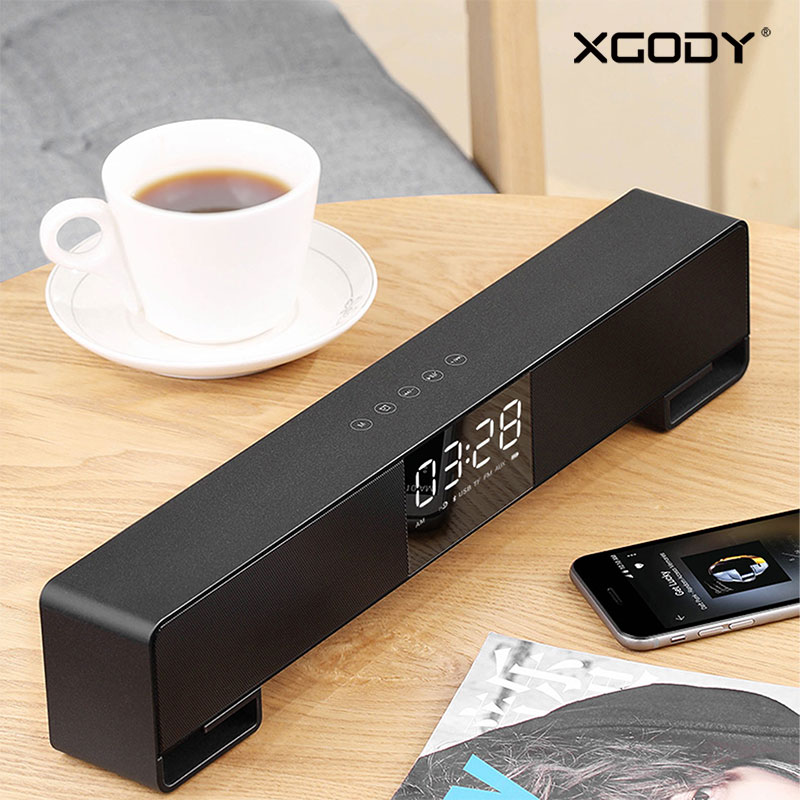 XGODY IPC17 Bluetooth 4.2 Wireless Soundbar Built-in Mic FM Radio Surround Stereo Sound Portable Speaker for Android iPhone PC rotibox mini soundbar ultra compact portable mutimedia wireless stereo bluetooth speaker hifi powerful crystal sound with balacne audio deep bass cinema surround sound aux connection for outdoor sports play home audio