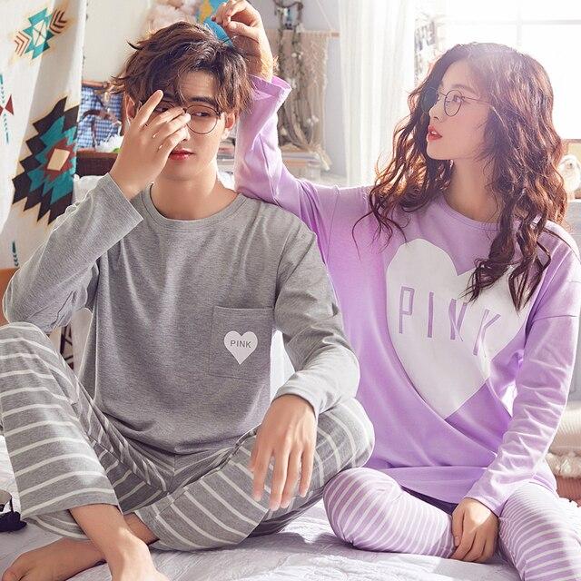Couple's pajamas Autumn Cotton Long-sleeve Clothing Pyjamas Women Sleepwear Lover pullover Pajama Set 3XL