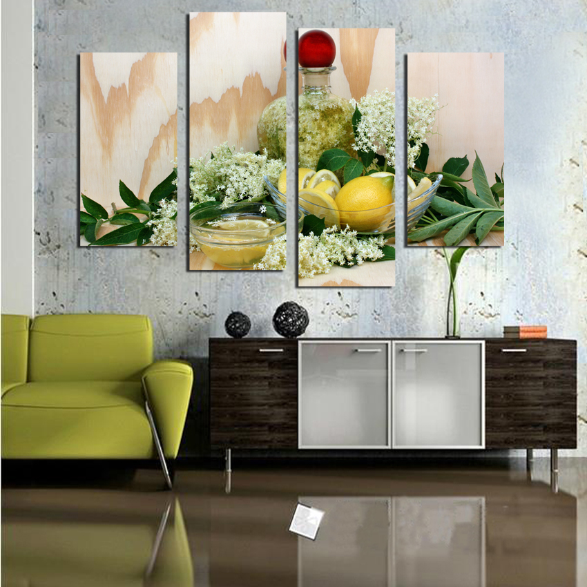Kitchen Wall Painting Designs: Lemon Juice Flower Leaves Canvas Painting Modern Wall