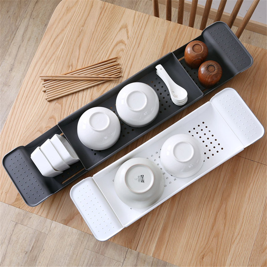Bathtub Storage Rack Bath Tray Shelf Bathroom Tools Makeup Organizer Shower Tub Plastic Kitchen Sink Drain Holder3