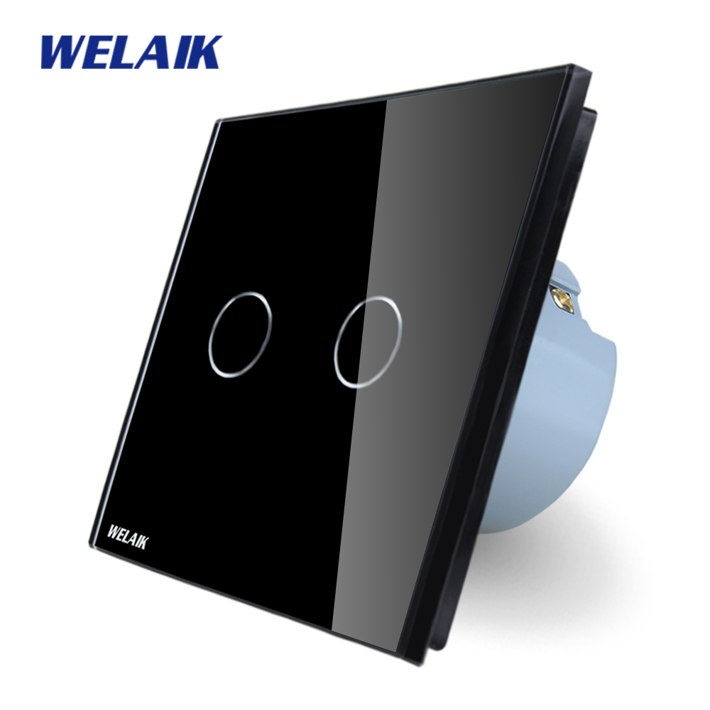 WELAIK Crystal Glass Panel Switch black Wall Switch EU Touch Switch Screen Wall Light Switch 2gang1way AC110~250V A1921CB welaik crystal glass panel switch white wall switch eu remote control touch switch light switch 1gang2way ac110 250v a1914w b