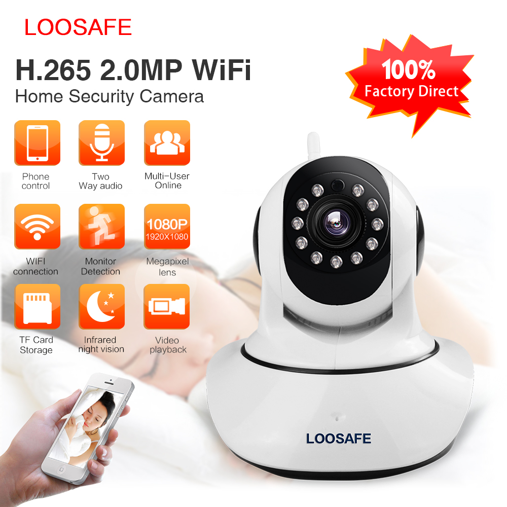 Loosafe IP Camera Wifi Baby Monitor 2 MP H.265 Wifi Home Security CCTV IP Camera P2P IR-Cut Night Vision Indoor Kamer LS-F2-H265 mf2300 f2
