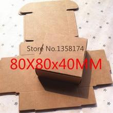 FJH005 50pcs/lot Foldable kraft paper box, Kraft gift box macaron Free Shipping Size 80*80*40mm